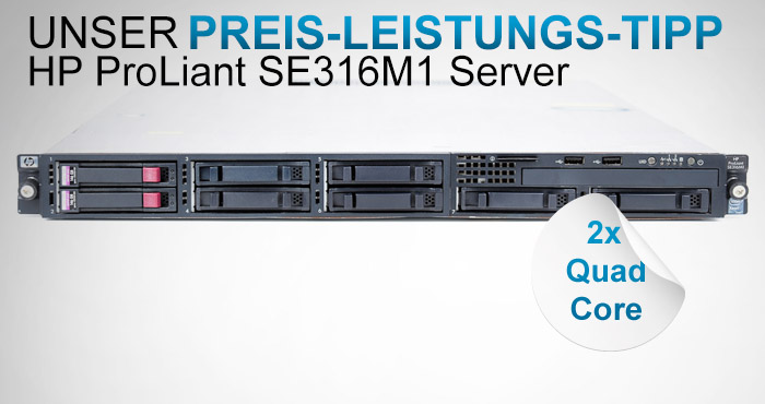 HP Proliant SE316M1, 2x Intel Xeon L5520 Quad Core 2.27 GHz, 16 GB RAM, 2x 146 GB SAS, schon ab 799,99 EUR